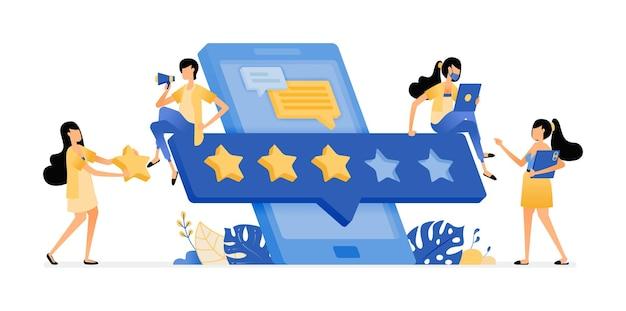 Illustrazione della valutazione e della recensione per la soddisfazione dell'utente