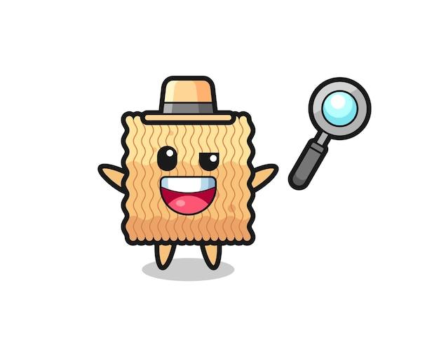 Illustrazione della mascotte di spaghetti istantanei crudi come un detective che riesce a risolvere un caso, design in stile carino per maglietta, adesivo, elemento logo