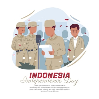 Illustrazione della lettura del testo della proclamazione dell'indipendenza indonesiana