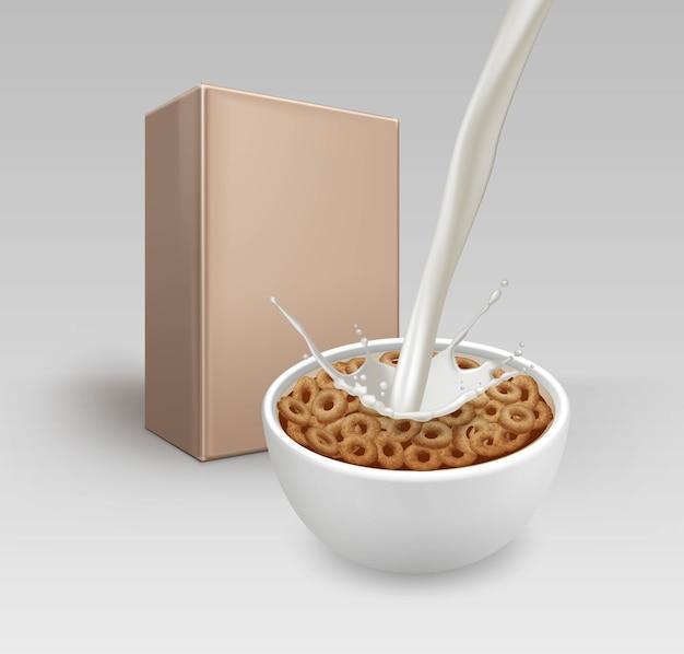 Illustrazione di anelli di mais di cereali da colazione realistici in una ciotola bianca con spruzzi di latte e scatola