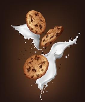 Illustrazione di biscotti al cioccolato realistici con spruzzata di latte