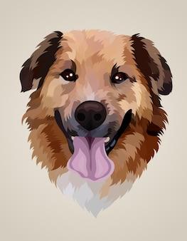 Illustrazione testa di cane realistico