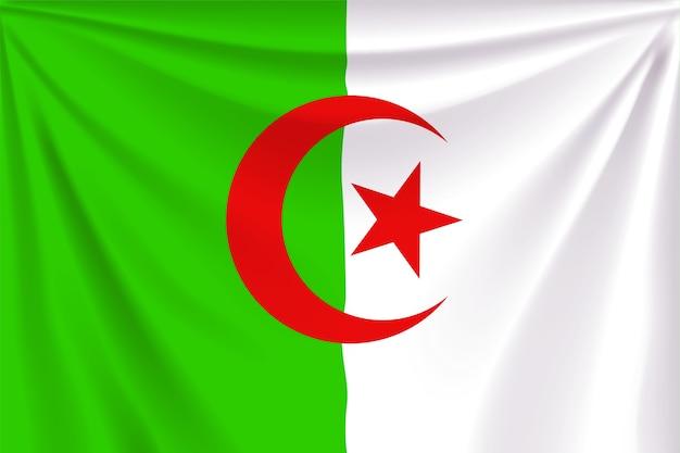 Illustrazione della bandiera realistica dell'algeria con pieghe