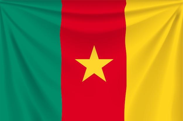 Illustrazione della bandiera realistica del camerun con pieghe