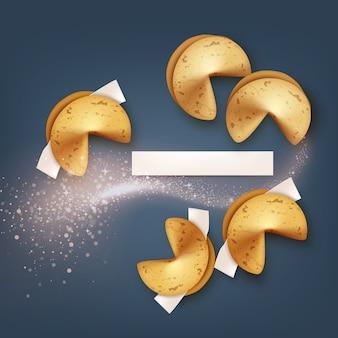 Illustrazione di biscotti della fortuna realistici con carta bianca e onda scintillante