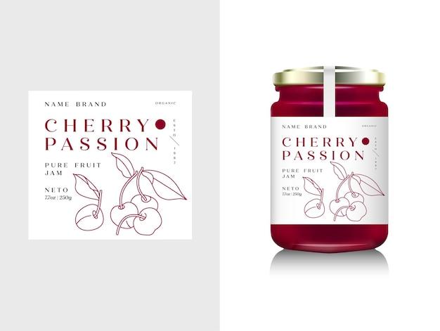 Illustrazione imballaggio realistico della bottiglia di vetro per marmellata di frutta. marmellata di ciliegie con etichetta di design, tipografia, icona di ciliegia di linea.