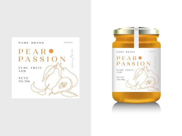 Illustrazione imballaggio realistico della bottiglia di vetro per marmellata di frutta. marmellata di pere con etichetta di design, tipografia, icona di linea pera.