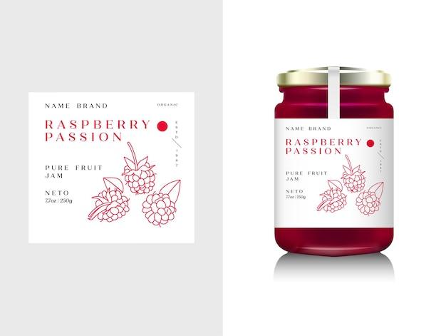 Illustrazione imballaggio realistico della bottiglia di vetro per marmellata di frutta. marmellata di lamponi con etichetta di design, tipografia, icona di lampone di linea.