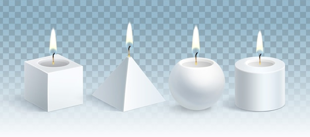 Illustrazione di candele di cera bianca incandescente realistiche set di forme diverse: cubo, piramide, sfera e cilindro isolato su sfondo blu trasparente