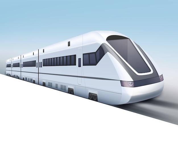 Illustrazione del treno ad alta velocità realistico su sfondo blu sfumato