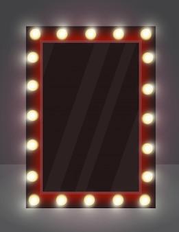 Illustrazione di specchio realistico per il trucco con lampade di illuminazione.