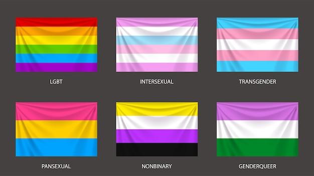 Illustrazione di bandiere colorate realistiche di sesso e genere impostato su grigio