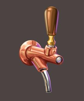 Illustrazione del rubinetto di birra in rame riflesso lucido realistico isolato su bianco