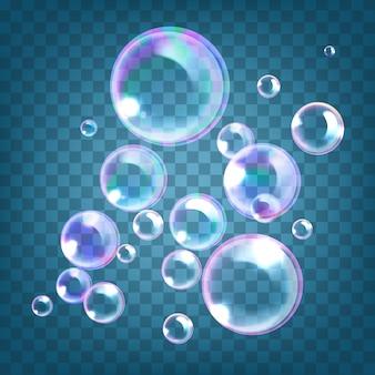 Illustrazione di bolle di sapone realistiche con riflesso arcobaleno