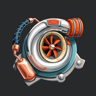 Illustrazione del realistico turbocompressore cromato con dettagli in rame su grigio scuro
