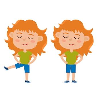Illustrazione della ragazza dai capelli rossi nella posa di esercizio