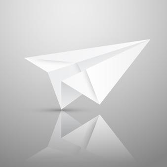 Illustrazione dell'aeroplano di carta origami rosso su sfondo bianco.