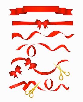 Illustrazione della collezione di nastri rossi con le forbici d'oro, isolato su sfondo bianco.
