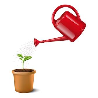 Illustrazione di acqua rossa può annaffiare piccola pianta verde in una pentola di argilla marrone. isolato su bianco