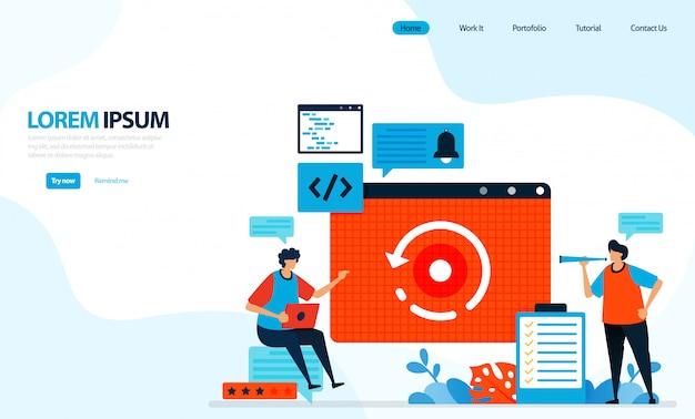 Illustrazione di ricaricare o caricare la pagina web. processo di download di pagine web. tecnologia internet.