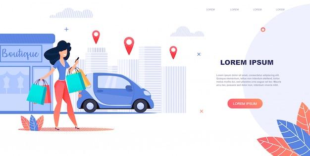 Illustrazione rent a car utilizzando l'applicazione mobile