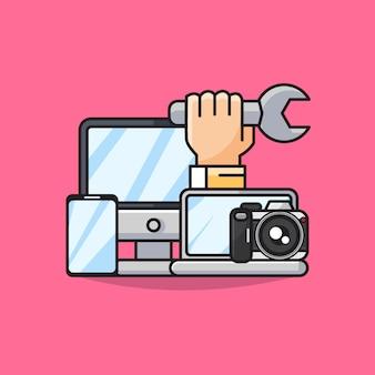 Illustrazione dell'aggeggio di riparazione con l'icona del monitor, dello smartphone, del computer portatile e della macchina fotografica digitale.