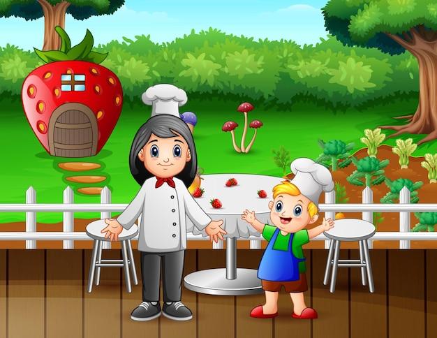 Illustrazione di un ristorante con un bambino e una donna chef