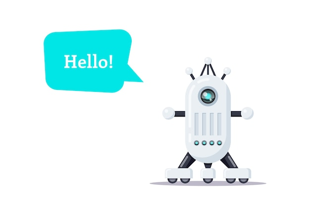 Illustrazione del robot isolato su sfondo bianco.