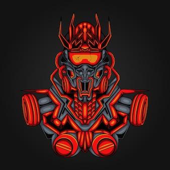 Illustrazione robotic mecha soldier