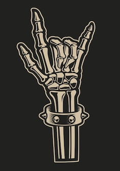 Illustrazione di un segno di mano di roccia su uno sfondo scuro. perfetto per magliette di design e molti altri