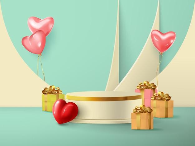 Illustrazione di una scena romantica di un podio vuoto con doni per san valentino.