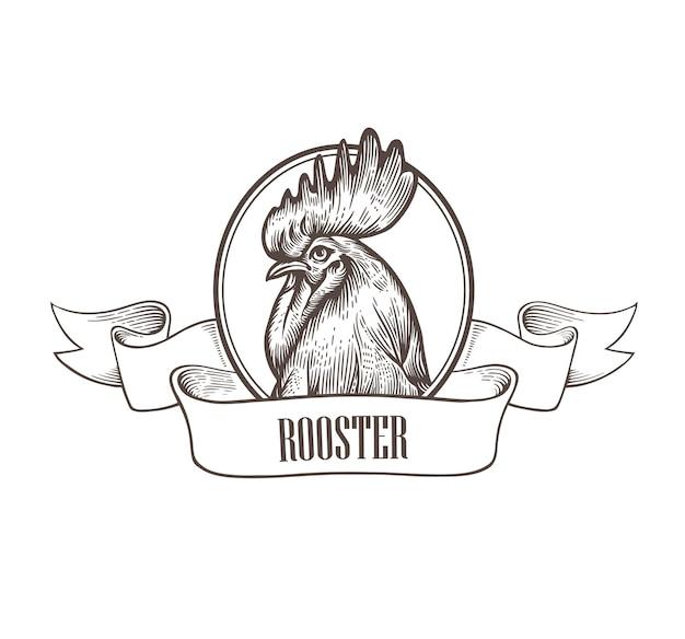 Illustrazione di una testa di gallo circondata da una cornice rotonda