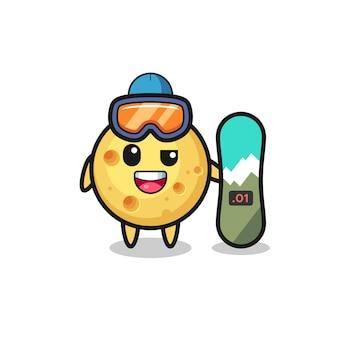 Illustrazione del personaggio di formaggio rotondo con stile snowboard, design in stile carino per maglietta, adesivo, elemento logo