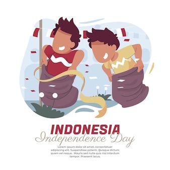 Illustrazione della corsa con i sacchi il giorno dell'indipendenza indonesiana