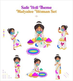 Illustrazione del set di caratteri della donna malayalee a tema holi sicuro