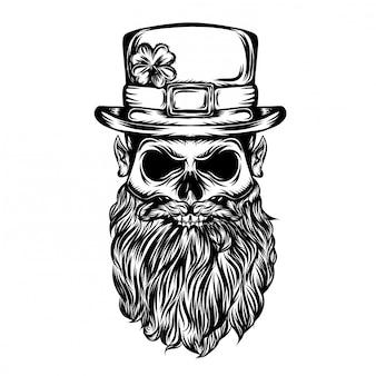 Illustrazione del cranio di san patrizio con lui grande cappello