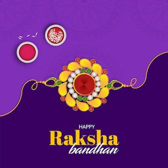 Illustrazione di vendita e promozione banner poster con rakhi decorativo per raksha bandhan indian