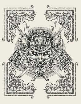 Illustrazione testa di samurai con fiamma ornamento incisione