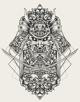 Illustrazione testa di samurai con ornamento incisione