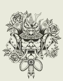 Illustrazione testa di samurai con fiore rosa