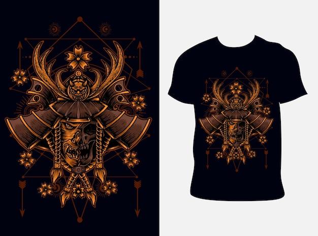 Illustrazione testa di samurai con design t-shirt