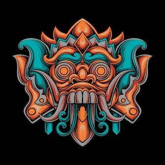 Illustrazione di un guerriero samurai e maschera kitsune in stile mecha