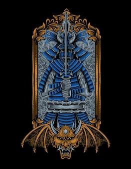 Illustrazione di guerrieri samurai su cornice per incisione