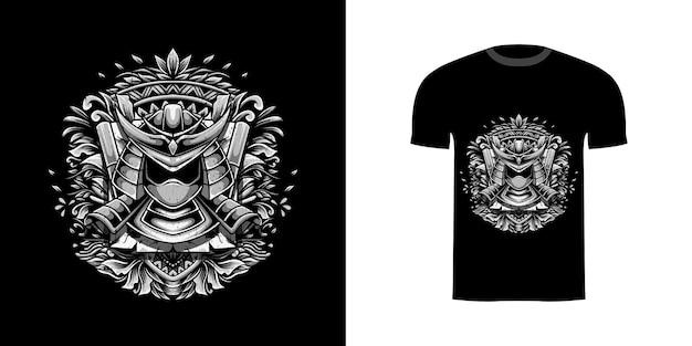 Illustrazione samurai con ornamento incisione per il design della maglietta