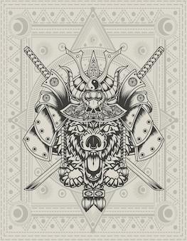 Illustrazione testa di lupo samurai