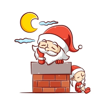 L'illustrazione del babbo natale e del piccolo elfo dorme sotto la luna splendente nel camino