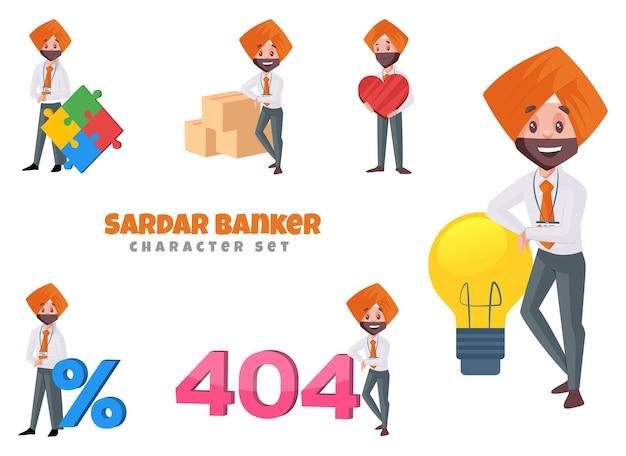 Illustrazione del set di caratteri del banchiere sardar