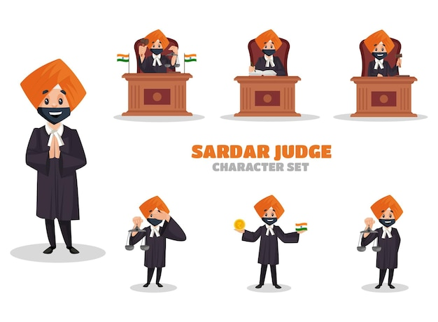 Illustrazione del set di caratteri del giudice sardar