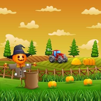 Illustrazione dello spaventapasseri in uno sfondo di terreno coltivabile
