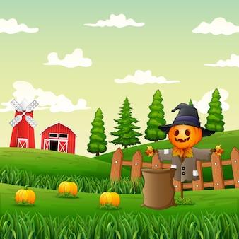 Illustrazione di uno spaventapasseri nel giardino di zucca